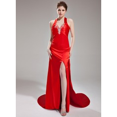 Sheath/Column V-neck Watteau Train Charmeuse Evening Dress With Ruffle Beading Split Front