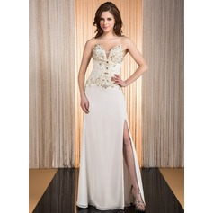 A-Line/Princess Sweetheart Floor-Length Chiffon Prom Dress With Beading Split Front