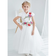 A-Line/Princess Ankle-length Flower Girl Dress - Tulle/Lace Short Sleeves Stand Collar With Lace/Flower(s)