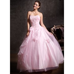 Ball-Gown Sweetheart Floor-Length Tulle Quinceanera Dress With Lace Beading Flower(s) Cascading Ruffles
