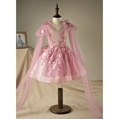 A-Line/Princess Knee-length Flower Girl Dress - Polyester/Cotton Sleeveless V-neck With Beading/Appliques