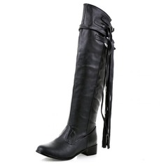 Women's Leatherette Chunky Heel Pumps Closed Toe Boots Over The Knee Boots shoes