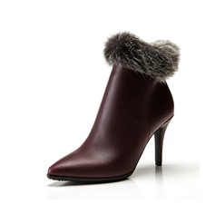 Real Leather Stiletto Heel Pumps Ankle Boots With Fur shoes