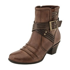 Women's Leatherette Low Heel Boots Ankle Boots With Buckle shoes