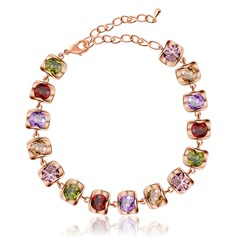Beautiful Zircon Copper Platinum Plated Ladies' Fashion Bracelets