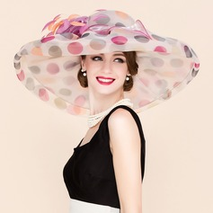 Ladies' Colorful Organza With Feather Floppy Hat