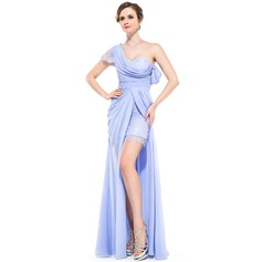 A-Line/Princess One-Shoulder Floor-Length Chiffon Holiday Dress With Ruffle Split Front
