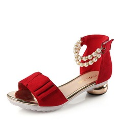 Baby's Cloth Low Heel Peep Toe Sandals With Imitation Pearl