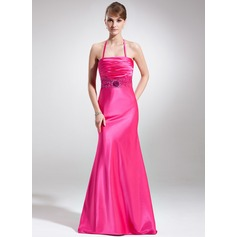 Trumpet/Mermaid Halter Sweep Train Charmeuse Holiday Dress With Ruffle Beading