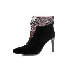 Real Leather Stiletto Heel Pumps Closed Toe Ankle Boots With Rhinestone shoes