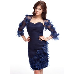 Sheath/Column Sweetheart Knee-Length Organza Cocktail Dress With Ruffle Beading Flower(s)