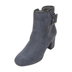 Women's Suede Chunky Heel Boots Ankle Boots With Buckle shoes