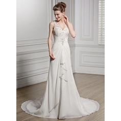 Trumpet/Mermaid V-neck Chapel Train Chiffon Wedding Dress With Beading Appliques Lace Sequins Cascading Ruffles