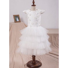 A-Line/Princess Tea-length Flower Girl Dress - Tulle/Lace Short Sleeves Scoop Neck With Flower(s)