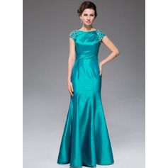 Trumpet/Mermaid Scoop Neck Floor-Length Taffeta Mother of the Bride Dress With Ruffle Beading