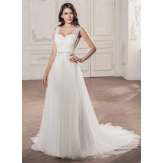 A-Line/Princess V-neck Court Train Tulle Wedding Dress With Ruffle Beading Appliques Lace Sequins Bow(s)