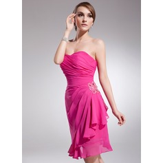 Sheath/Column Strapless Knee-Length Chiffon Homecoming Dress With Beading Cascading Ruffles