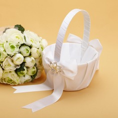 Pretty Flower Basket in Satin With Bow/Rhinestones/Faux Pearl