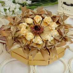 Stately Gold Cake Pyramid Favor Boxes With Flowers/Ribbons (Set of 10)