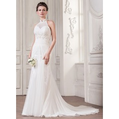 Trumpet/Mermaid High Neck Court Train Tulle Wedding Dress With Ruffle Lace Beading Sequins