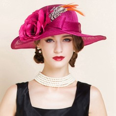 Ladies' Glamourous Summer Cambric With Feather Bowler/Cloche Hat