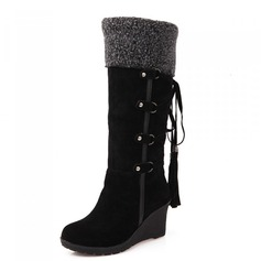 Women's Leatherette Wedge Heel Pumps Closed Toe Boots Knee High Boots shoes