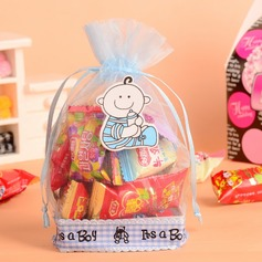 """Happy Baby"" Basket Favor Bags With Ribbons"