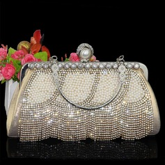 Shining Polyester/Rhinestone/Imitation Pearl Clutches/Wristlets