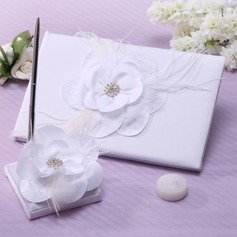 Flowers Design Satin Rhinestones Guestbook/Pen Set