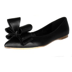 Suede Flat Heel Closed Toe Flats With Bowknot