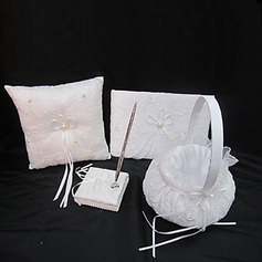 Wedding Collection Set In White Satin With Exquisite Embroidery Covery And Faux Pearl (4 Pieces)(100017982)