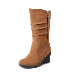 Suede Wedge Heel Mid-Calf Boots With Zipper shoes (088055038)