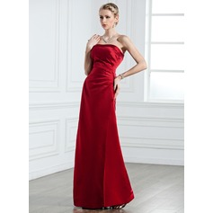Sheath/Column Strapless Floor-Length Satin Bridesmaid Dress With Ruffle