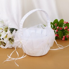 Beautiful Flower Basket With Ribbons/Faux Pearl