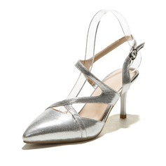 Leatherette Stiletto Heel Pumps Closed Toe Slingbacks With Buckle shoes
