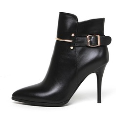 Women's Real Leather Stiletto Heel Boots Ankle Boots With Buckle shoes