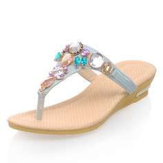 Leatherette Wedge Heel Sandals Wedges Slippers With Rhinestone Crystal shoes