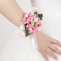 Elegant Free-Form Satin/Cotton Wrist Corsage
