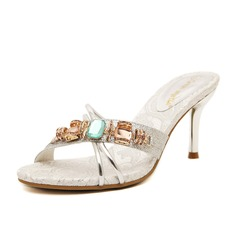 Leatherette Spool Heel Sandals Slippers With Rhinestone shoes
