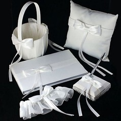 Wedding Collection Set in White Satin With Ribbons (5 Pieces)(100017968)