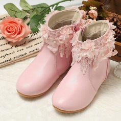 Girl's Leatherette Flat Heel Boots With Flower