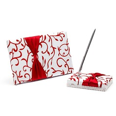 Red Vines Satin Bow Guestbook/Pen Set