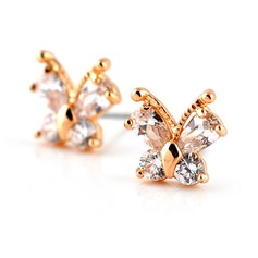 Butterfly Shaped Gold Plated Zircon Girls' Fashion Earrings