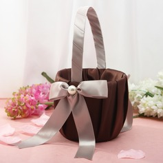 Lovely Flower Basket in Satin With Bow