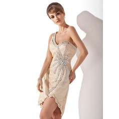 Sheath/Column One-Shoulder Asymmetrical Lace Cocktail Dress With Beading