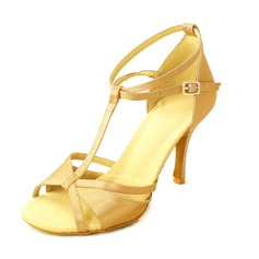 Women's Satin Heels Pumps Latin With T-Strap Ankle Strap Dance Shoes