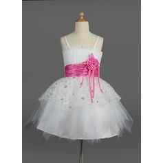 Robe Empire Longueur genou Robes à Fleurs pour Filles - Tulle/Charmeuse Sans manches Col festonné avec Fleur(s)/Paillettes