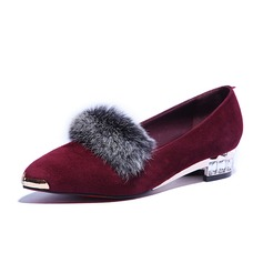 Real Leather Low Heel Flats Closed Toe With Fur shoes