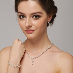 Leaves Shaped Pearl/Silver Plated/Zinc Alloy With Rhinestone Ladies' Jewelry Sets