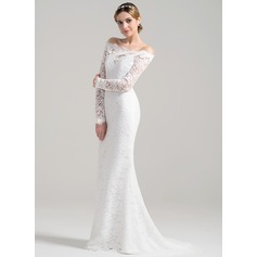 Sheath/Column Off-the-Shoulder Sweep Train Lace Wedding Dress (002084711)
